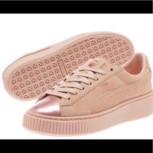 Rose gold suede metallic toe shoe.